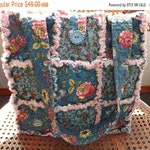Clearance 30% off - Rag Quilt Tote - Blue Floral - Teal and Dusty Pink - Handmade - Rag Quilt Handbag