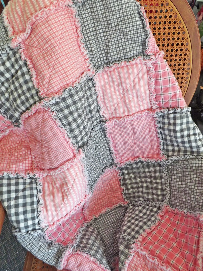 Pink and Gray Quilt Homespun Rag Quilt Farmhouse Decor image 0