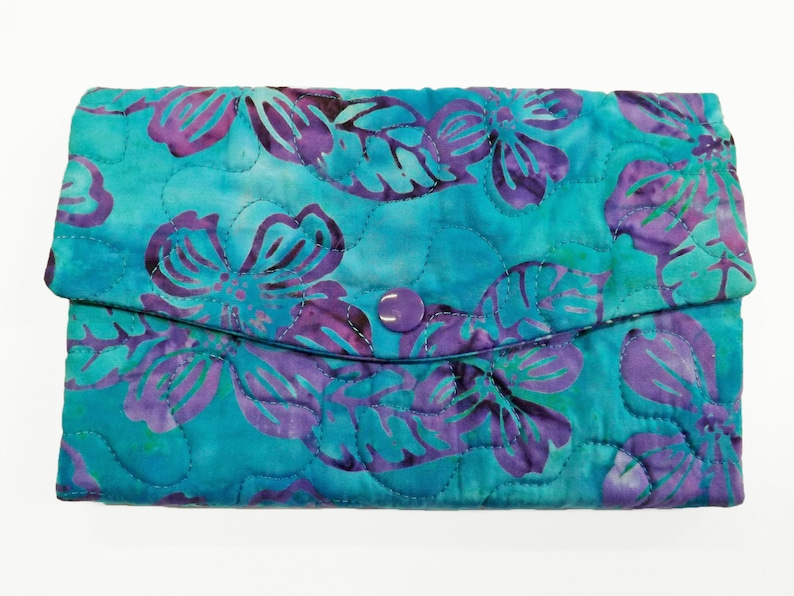 Batik Fabric Wallet Aqua Quilted Wallet Womens Wallet with image 0