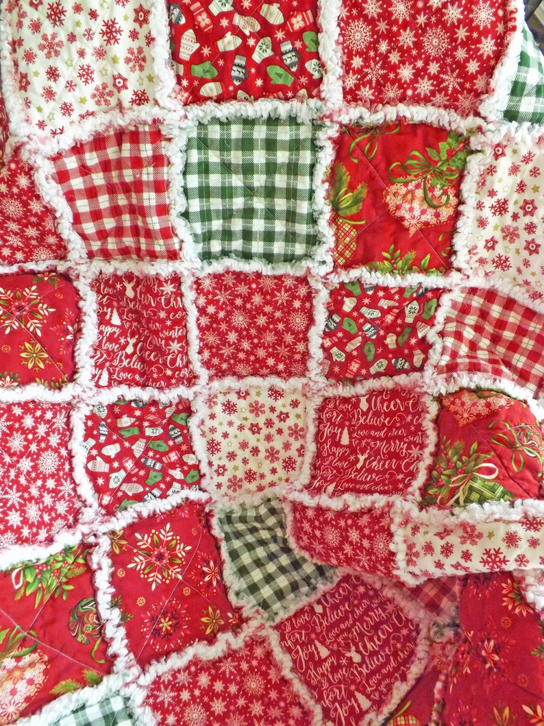 Christmas Lap Quilt Rag Quilt Christmas Decor Holiday image 0
