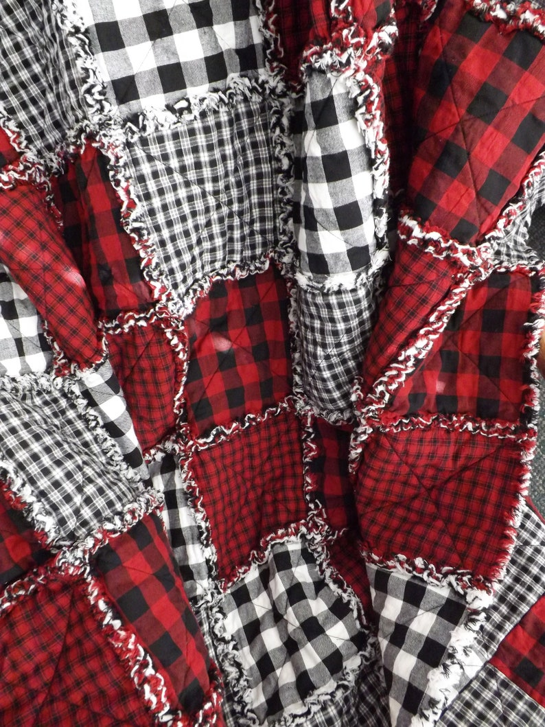 Red and Black Buffalo Plaid Lap Quilt Rag Quilt Christmas image 0