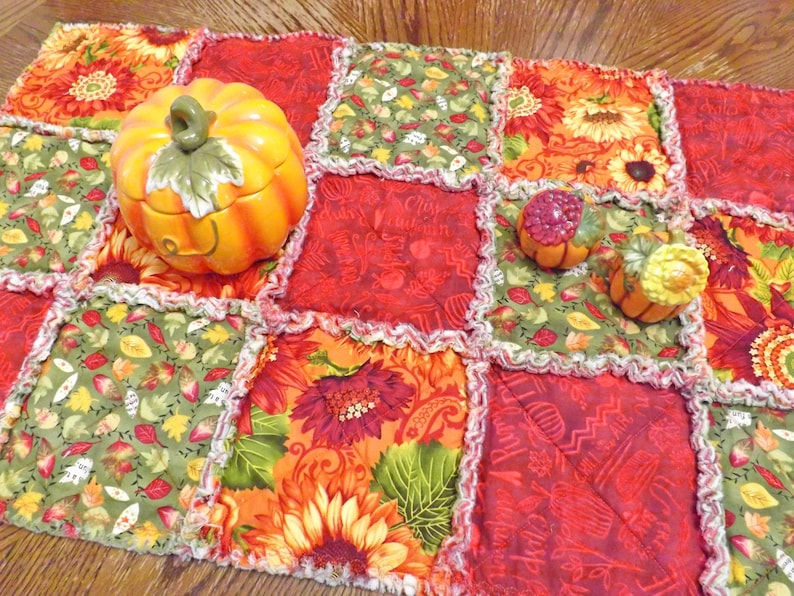 Autumn Colors Rag Quilt Table Runner  Autumn Runner  Fall image 0