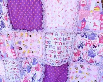 Rag Quilt for a Princess - Pink Purple - Girl Rag Quilt - Crowns Castles - Princess Quilt