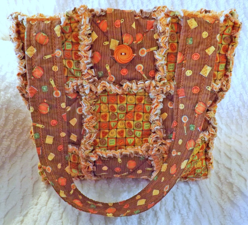 Sewing Rag Quilt Tote  Craft Tote Bag  Gift for Her image 0