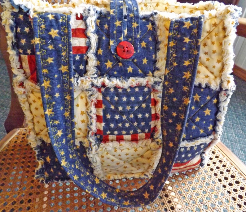 Patriotic Tote Bag Rag Quilt Tote Flag Tote Fourth of July image 0