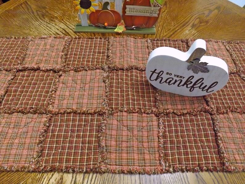 Autumn Rag Quilt Table Runner Mauve Homespun Table Runner image 0