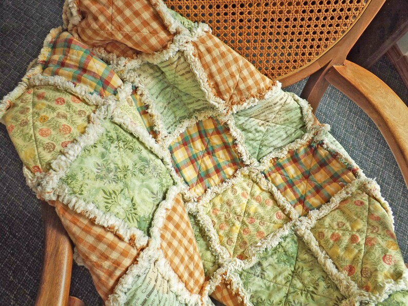 Autumn Throw Autumn Rag Lap Quilt Green and Brown Quilt image 0