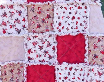 Sock Monkey Rag Quilt - Red, Brown - Lap Quilt - Baby and Toddler Rag Quilt