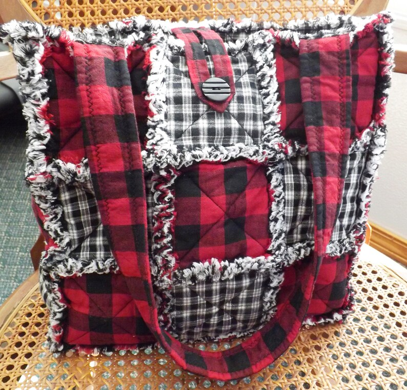 Red Buffalo Plaid Rag Quilt Tote Homespun Tote Tote Bag for image 0