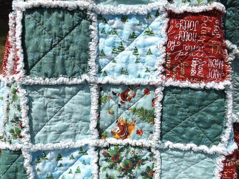 Christmas Santa Rag Quilt  Holiday Decor  Christmas Lap image 0