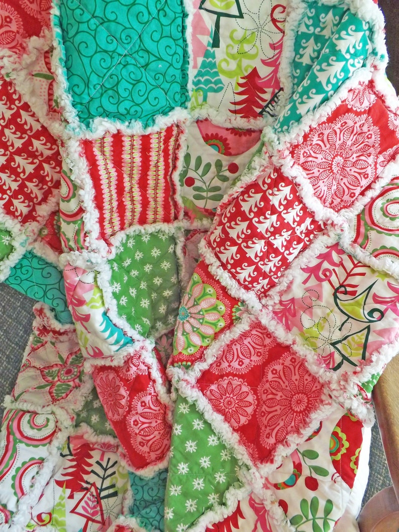 Christmas Rag Quilt Christmas Decor Holiday Lap Quilt Rag image 0