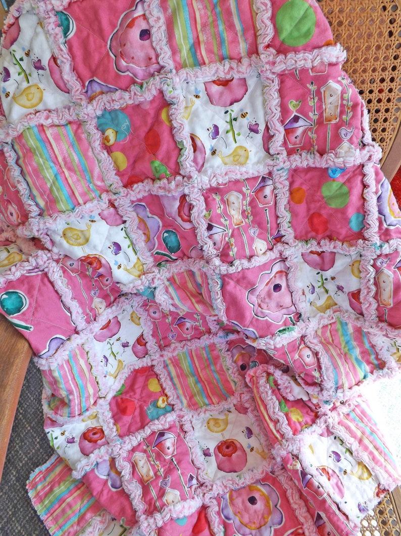 Rag Quilt for Baby  Pink Rag Quilt  Baby Rag Blanket  Rag image 0