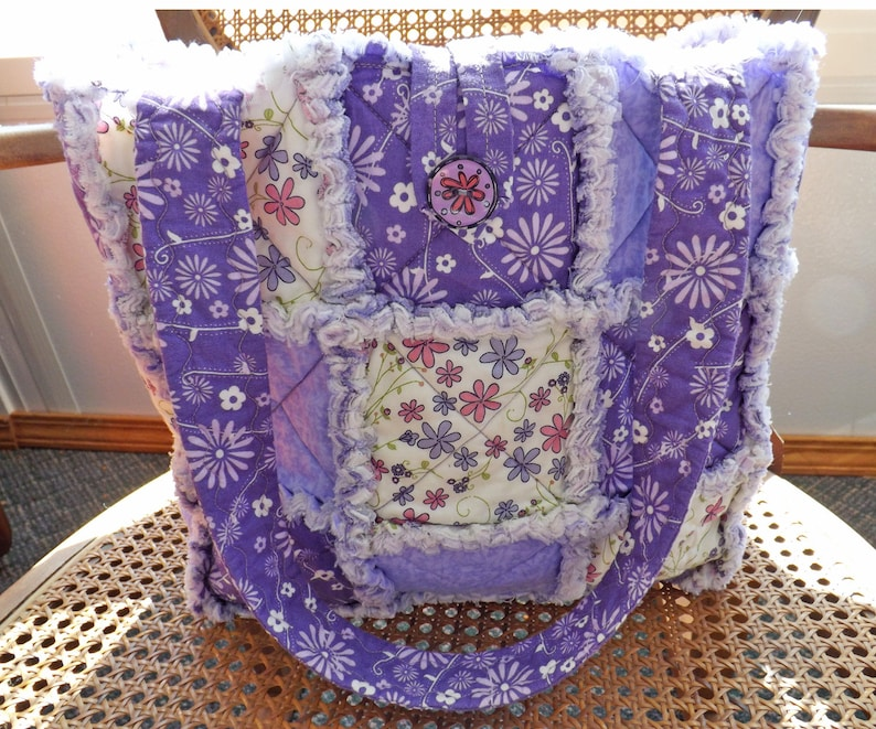 Rag Quilt Tote  Purple and Pink Tote  Handmade  Rag Quilt image 0