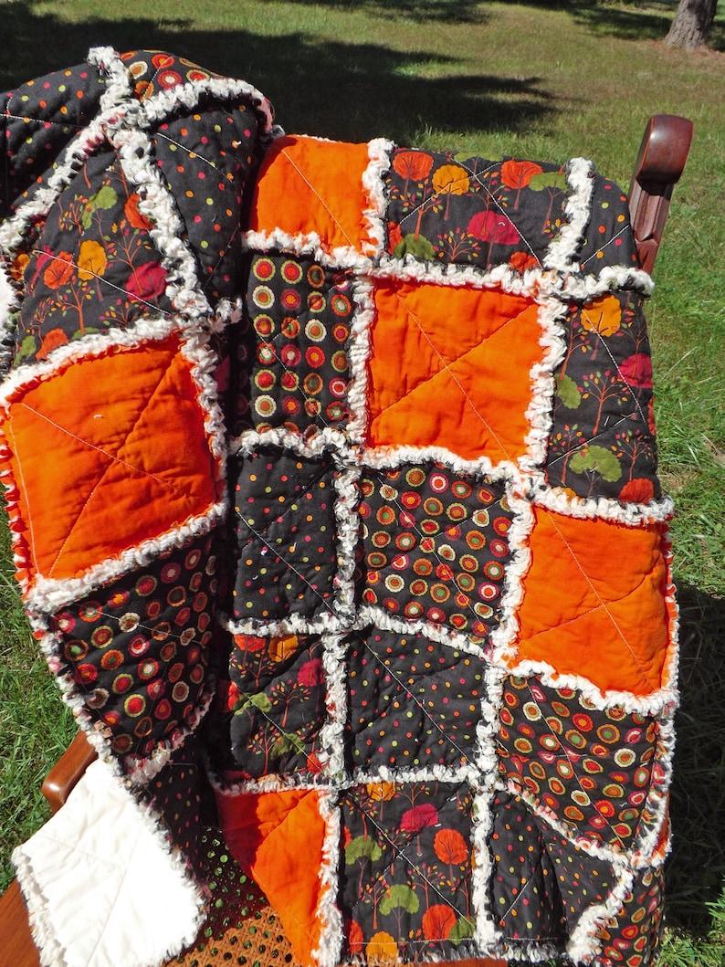Autumn Quilt Rag Quilt Lap Quilt Autumn Decor Fall Decor image 0
