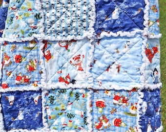 Snowman Rag Quilt - Blue and White Quilt - Christmas Rag Quilt - Snowmen Quilt - Shades of Blue