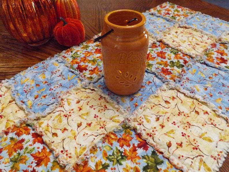 Autumn Blue Table Runner Rag Quilt Table Runner Autumn image 0