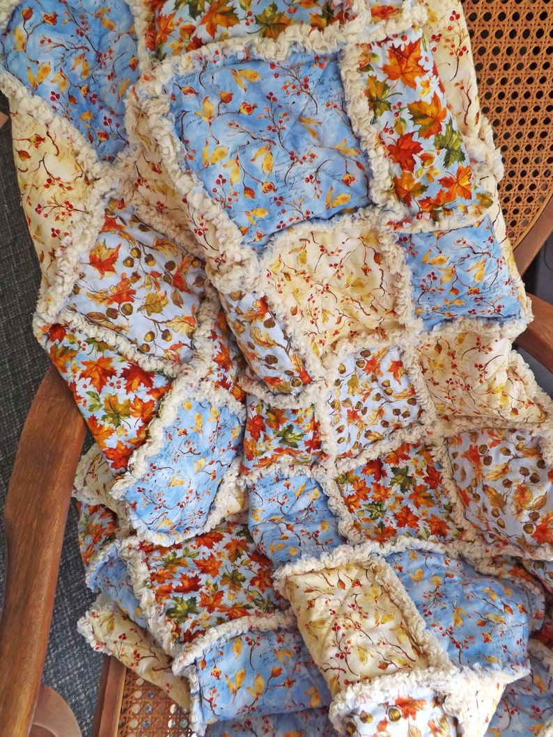 Blue Autumn Lap Rag Quilt Blue Autumn Decor Autumn Throw image 0