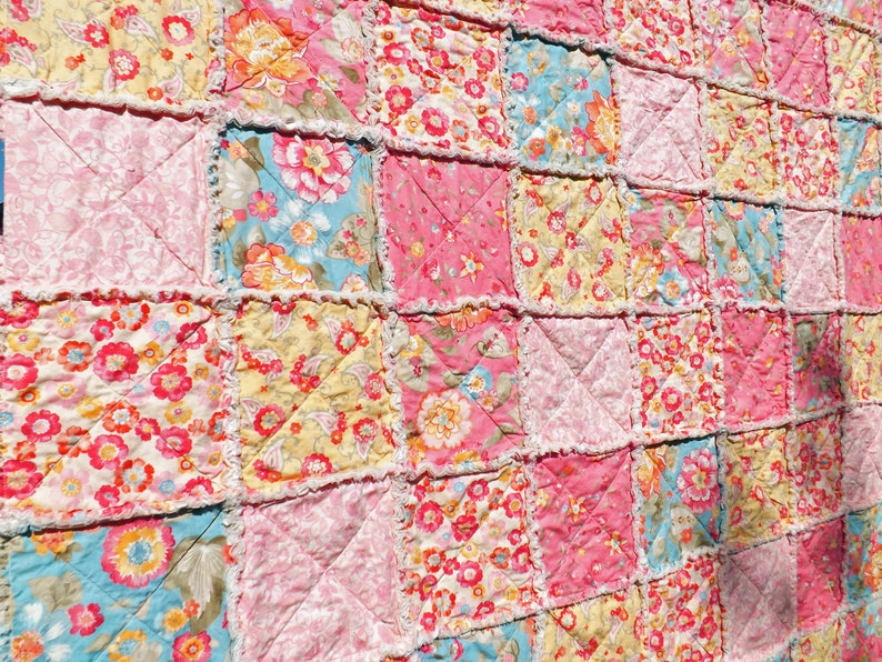 Pink and Blue Floral Twin Rag Quilt Bedroom Decor Twin image 0