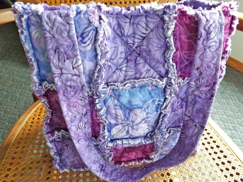 Tropical Purple Rag Quilt Tote Rag Quilt Purse Vacation Bag Rag Bag Purple Batik Tote Bag Gift for Her Summer Vacation Tote Bag