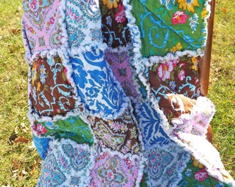 Floral Lap Rag Quilt - Lap Rag Quilt - blue, brown, yellow, green, pink - Gift for Her