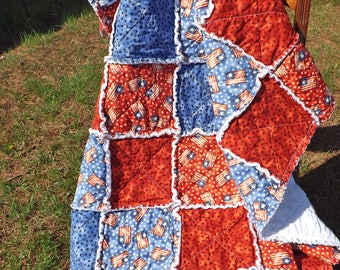 Flag and Stars Rag Quilt - Lap Rag Quilt - Patriotic American Flag and Stars Lap Quilt - red, blue - Fourth of July - Gift for her
