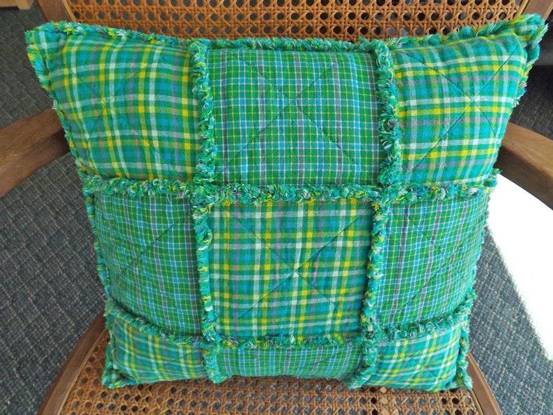 Rag Quilt Pillow  Spring Green Homespun Pillow  Farmhouse image 0