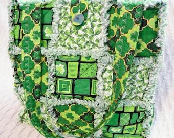 St. Patricks Rag Quilt Tote - Irish Tote - Green Rag Tote - Shamrocks - Clover - Handmade Bag