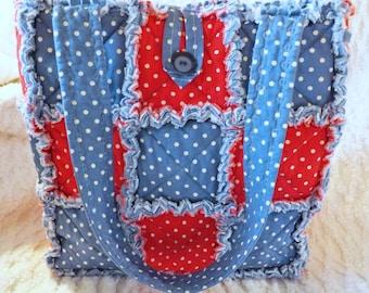 Red White and Blue Polka Dot Rag Quilt Tote - Handmade - Gift For Her - Rag Quilt Handbag