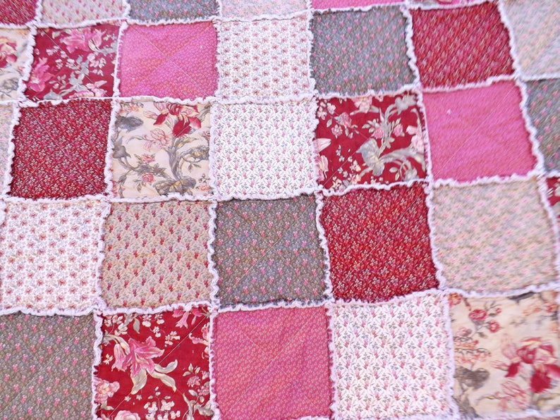 Queen Rag Quilt Cottage Chic Quilt Wedding Gift Handmade image 0