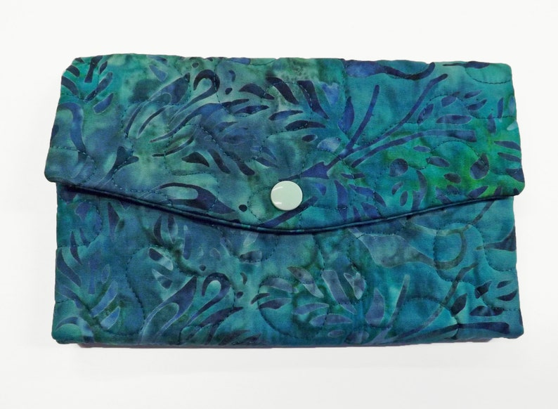 Batik Fabric Wallet Teal Quilted Wallet Womens Wallet with image 0
