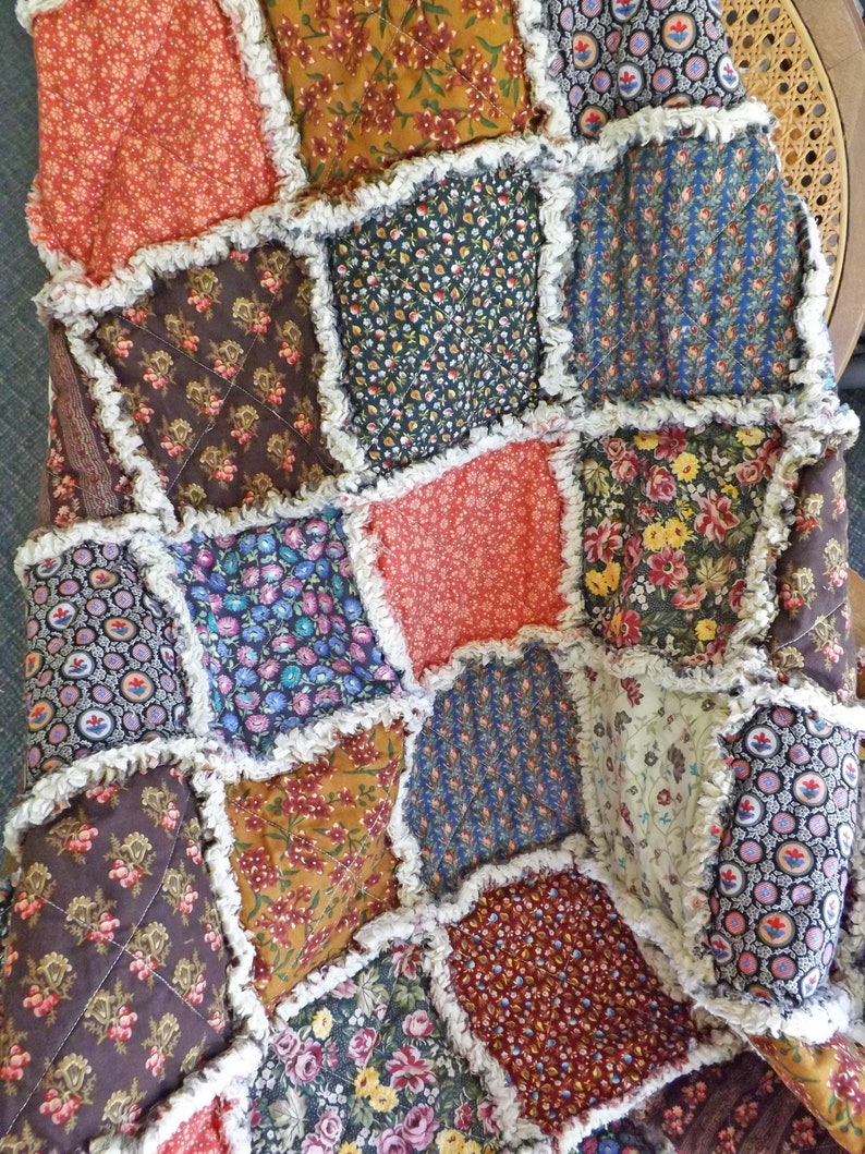 Colonial Calico Rag Lap Quilt  Calico and Floral Quilt  Gift image 0