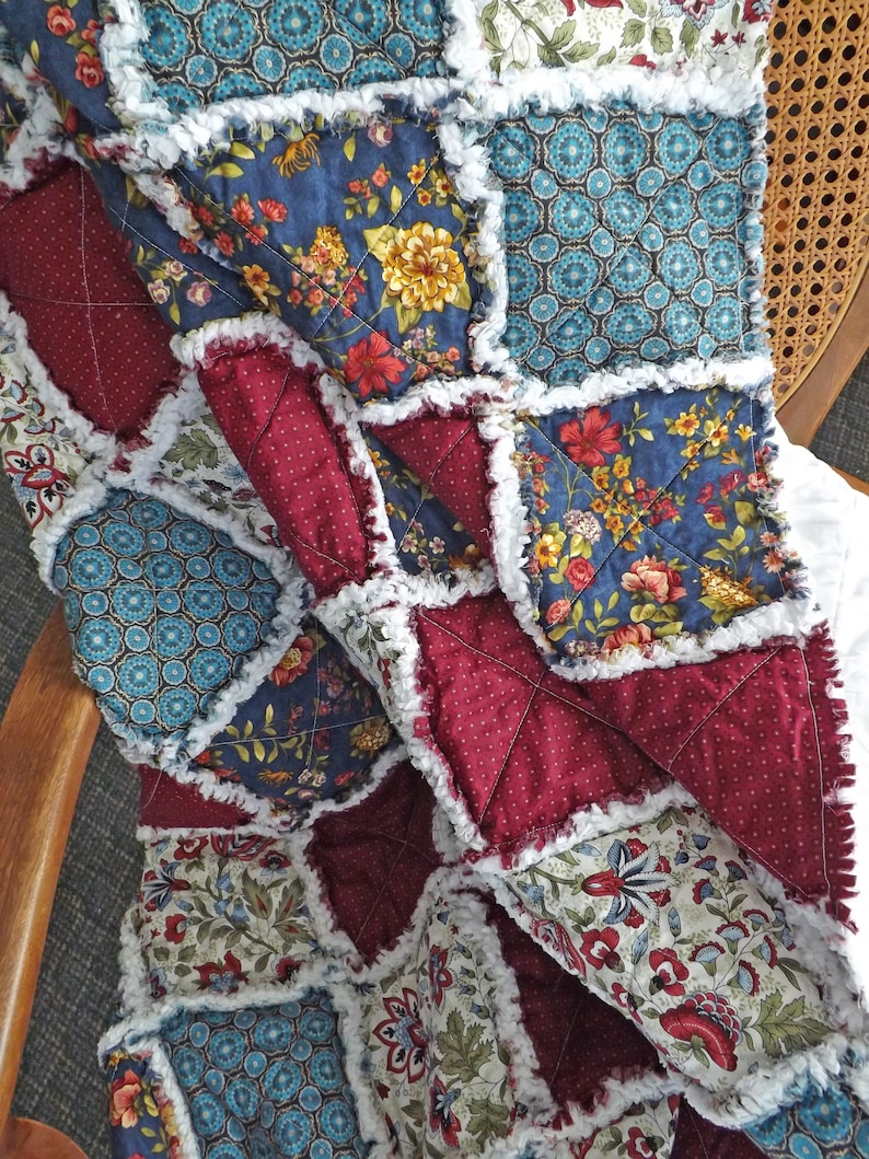 Rag Quilt Blue Living Room Decor Floral Quilt Rag Quilt for image 0