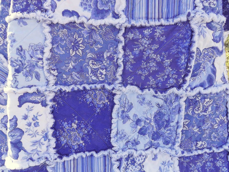 Rag Quilt Lap Quilt Periwinkle Blanket Blue and White image 0