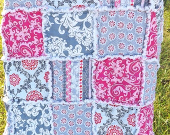 Pink and Gray Rag Quilt - Lap Rag Quilt - Modern Fabrics - Gift for Her