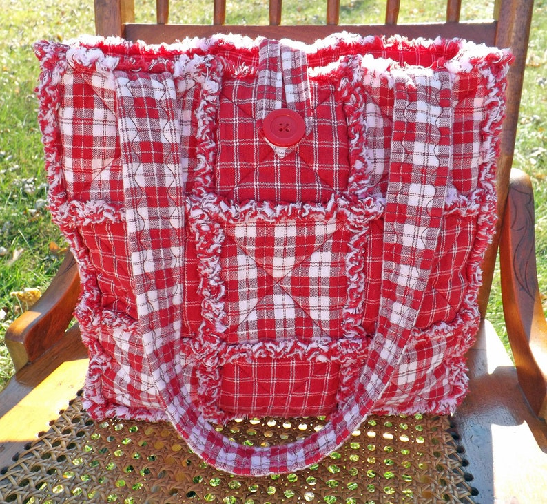 Red and White Rag Quilt Tote Plaid Tote Homespun Tote Tote image 0