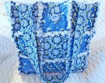 Blue Floral Rag Tote - Rag Quilt Tote - Blue and White Tote - Gift for Her