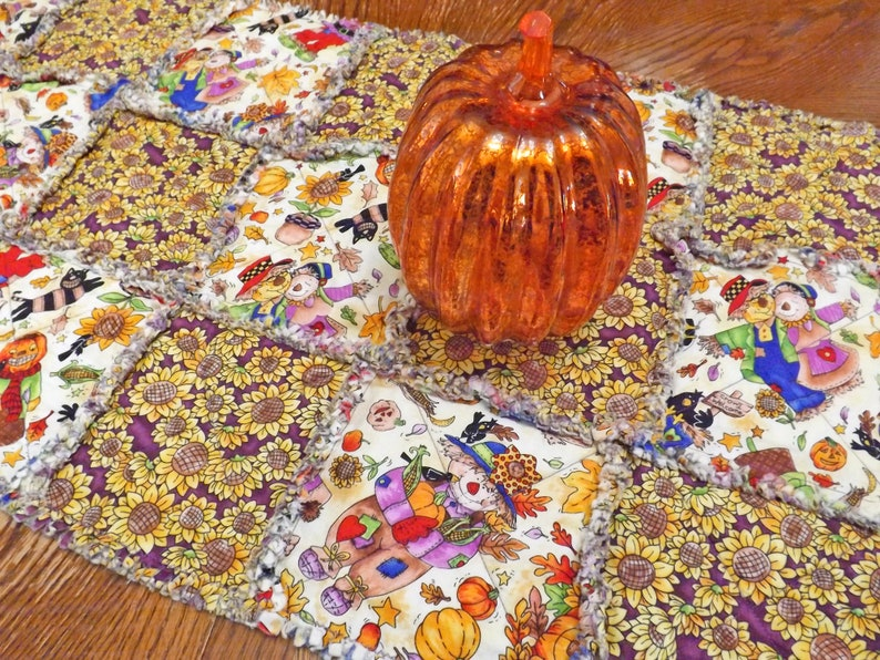 Autumn Rag Quilt Table Runner Halloween Table Decor image 0