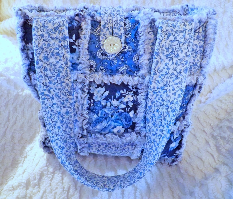 Blue and White Rag Quilt Tote  Blue Floral Bag  Gift for Mom image 0