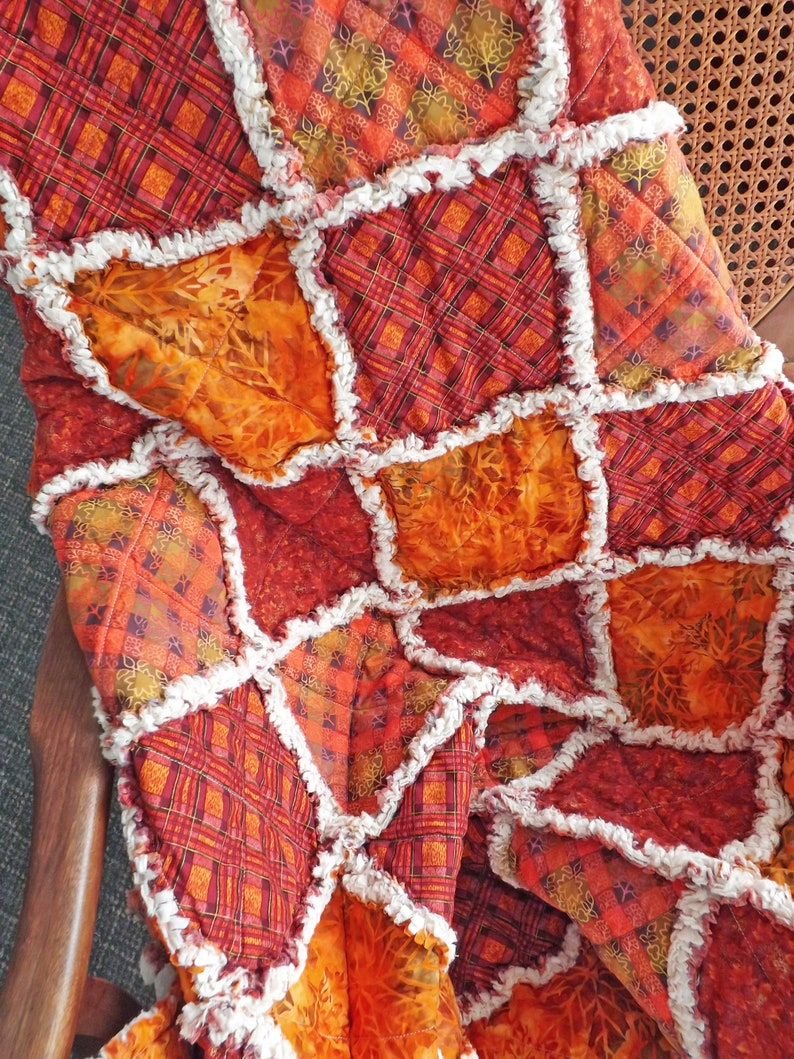 Autumn Lap Rag Quilt Autumn Throw Autumn Red Quilt Fall image 0