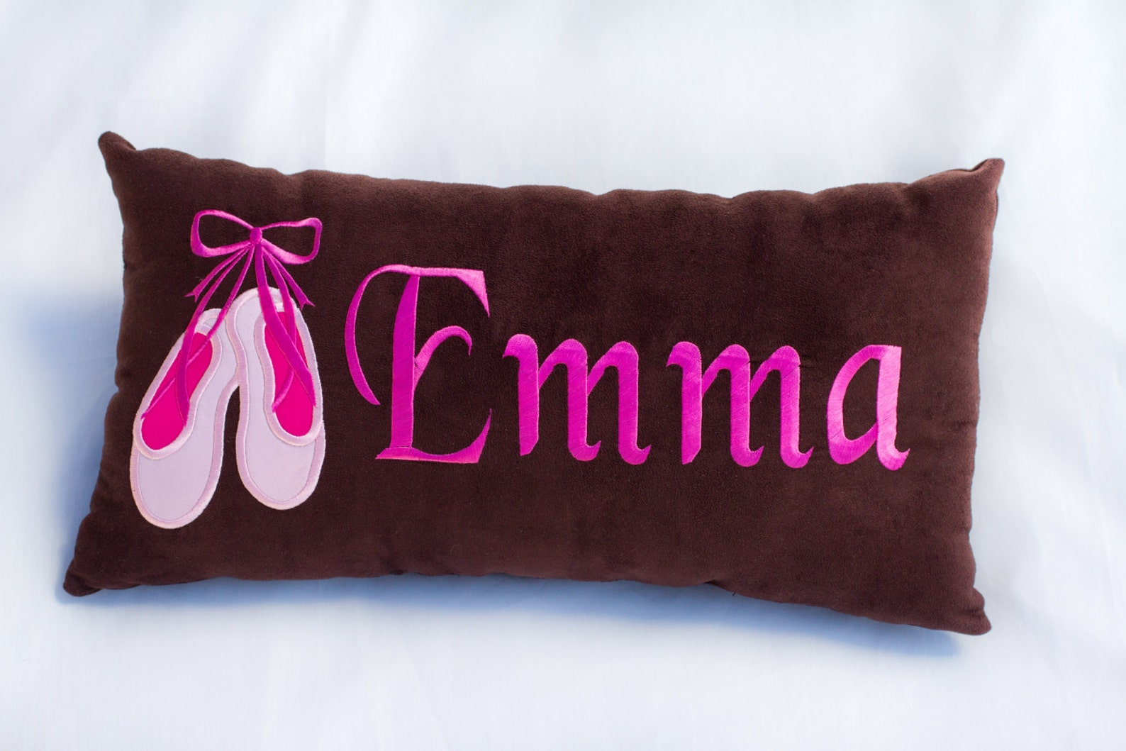 pillow - decorative or travel - with ballet shoes embroidery