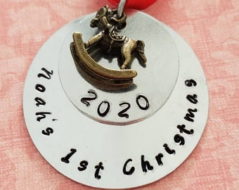 Personalized Hand Stamped Baby's First Christmas Ornament 2021