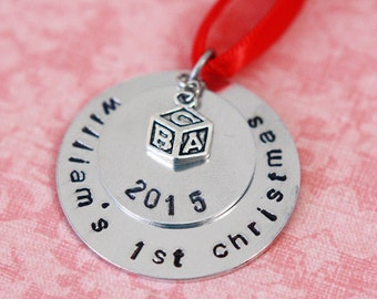 Personalized Hand Stamped Baby's First Christmas Ornament 2020