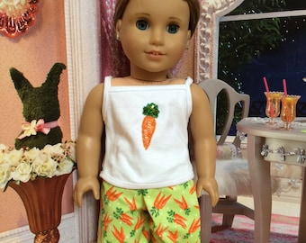 Easter doll pant set American doll pajamas Bling carrot Carrot fabric Easter Basket Easter 18 inch doll clothes Girl Doll clothes