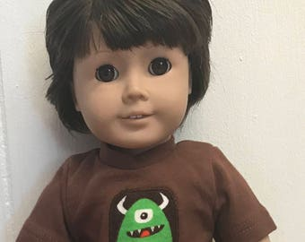 Boy doll monster top, jeans and hiking boots set, 18 inch Boys doll clothes, Boys 18 inch American doll clothes Ready to ship Boy doll boots