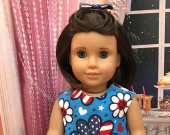 American doll dress for July 4th, Memorial Day, Labor Day sequin bow hair clip, silver doll shoes, 18 inch doll clothes, 18 inch doll shoes