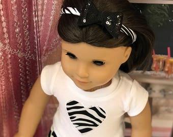 American Doll Zebra Print heart shirt, zebra print pants, zebra headband with glitter bow, Girl doll clothes Easter Basket Gift