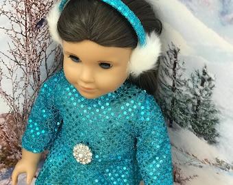 American Doll Ice Skater Bright Blue Glitter Dress, ear muffs, ice skates, 18 inch doll clothes, doll skate dress, Girl doll, Olympics 2018