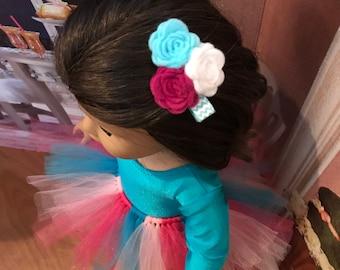 Girl Doll Dance recital Turquoise leotard, tulle tutu, rose felt flower Ballerina American Doll 18 inch doll clothes, 15 inch doll clothes