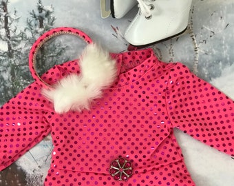 American Doll Ice Skater, ear muffs, ice skates, Hot Pink Glitter Dress, 18 inch doll clothes, doll skate dress, Girl doll, Olympics 2018