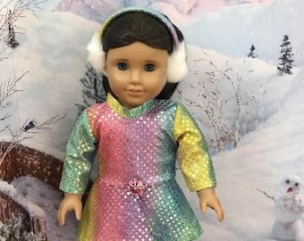 American Doll Ice Skater Rainbow Dress, ear muffs, ice skates, 18 inch doll clothes, doll skate dress, Girl doll clothes, Olympics 2018, RTS